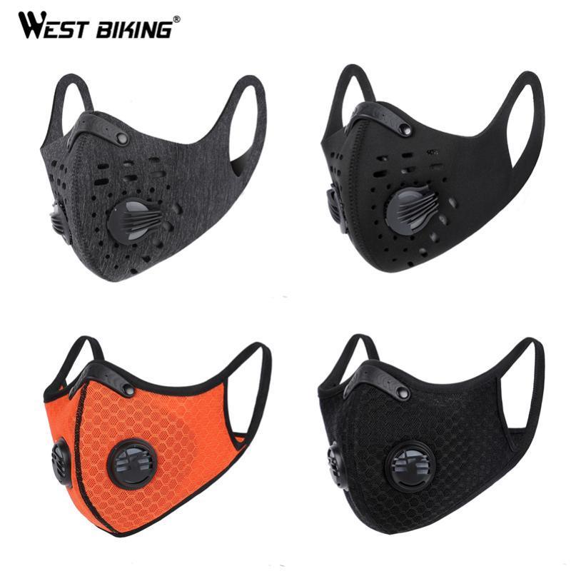 WEST 자전거 사이클링 얼굴은 스포츠 자전거가 실행 활성탄 필터 통기성 방진 교육 PM 2.5 마스크 마스크