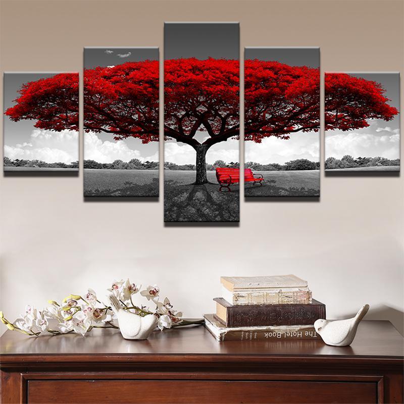 Modular lienzo HD Prints Pósteres Decoración Arte de la pared Fotos 5 piezas de arte de árbol Red Scenery Cuadros de Paisajes Framework