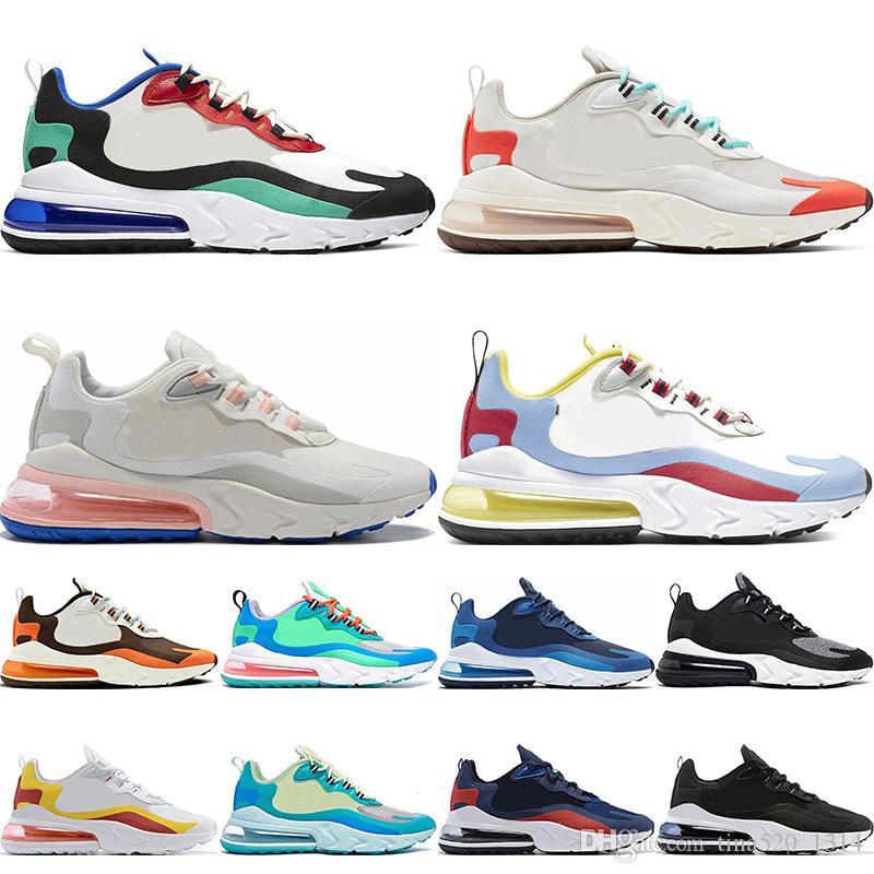 Nike Air Max 270 React الجملة 2020 تتفاعل تينيسي الرجال المدربين الثلاثي BAUHAUS OPTICAL الأزرق باطلة الأبيض المعزوفة النساء مصمم الرياضة في الهواء الطلق Zapatos حذاء حجم 13