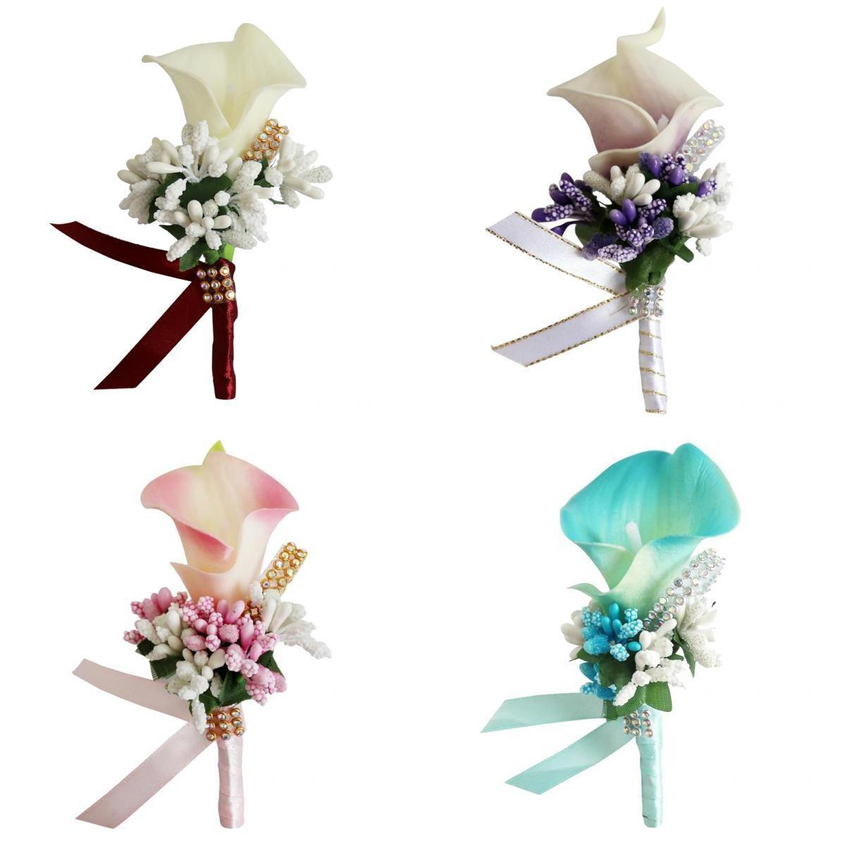 4pcs Flowers Wedding Wrist Flower Corsage with Rhinestone Wristband for Prom, Party, Wedding (4 Colors)