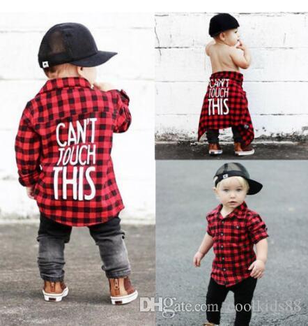 Новый малыш дети Baby Boys печатных клетчатая рубашка с длинным рукавом новая мода назад письмо печатных Детская одежда 1-7 Т