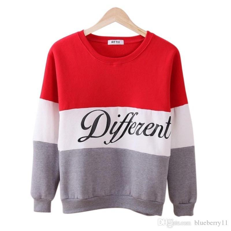Fashion Autumn winter women Long Sleeve hoodies printed letters Different women casual sweatshirt hoody sudaderas Plus Size S-2XL