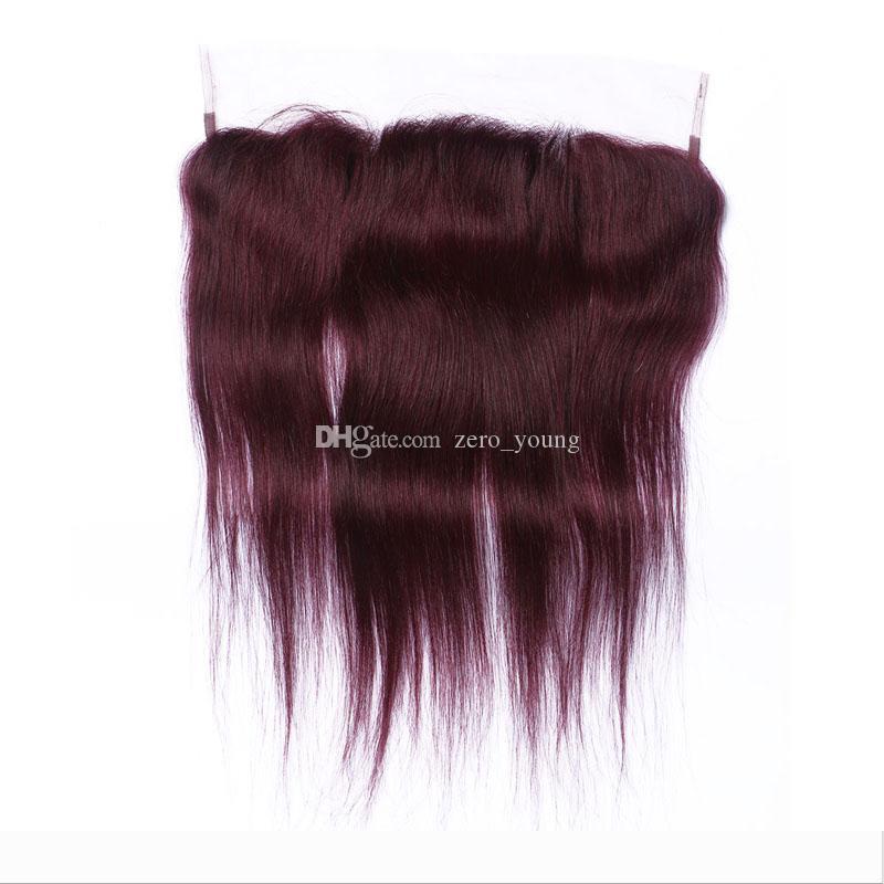 En bruto 99j virginal recta de pelo con el pelo rojo con frontal # 99J pelo humano malasio natural de la rayita para mujeres Negro