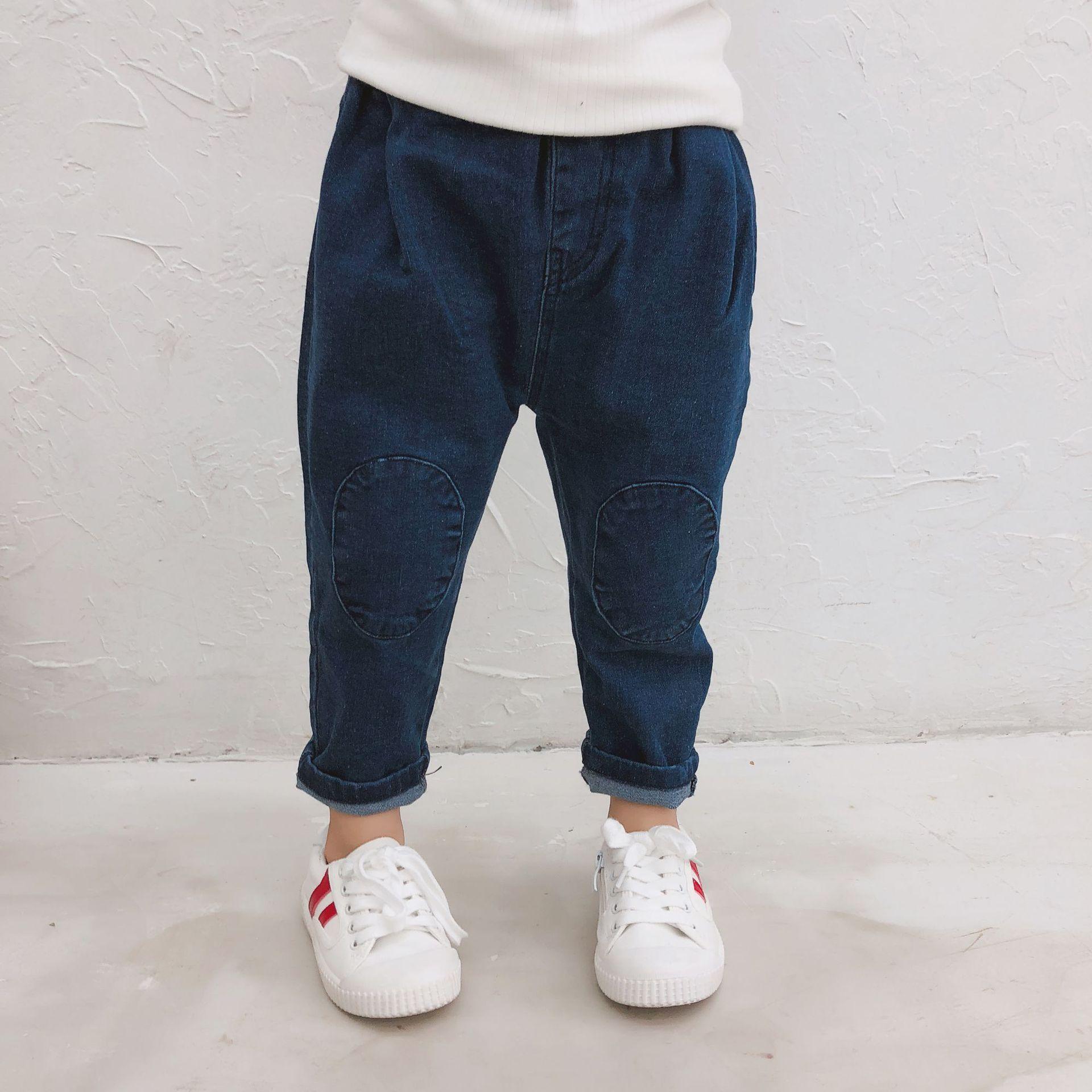 2019 Primavera New Arrival estilo coreano puro algodão cor all-jogo calças jeans para meninas de moda doce do bebê e meninos