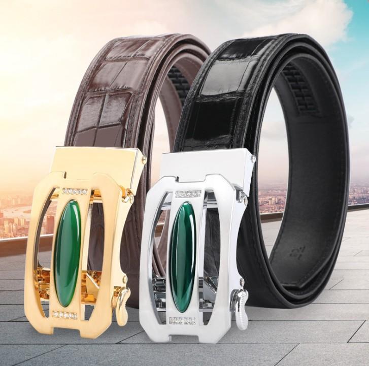 hujingsha Thailand Siam crocodile leather belt alloy automatic buckle diamond men's belt stylish all-leather men belt