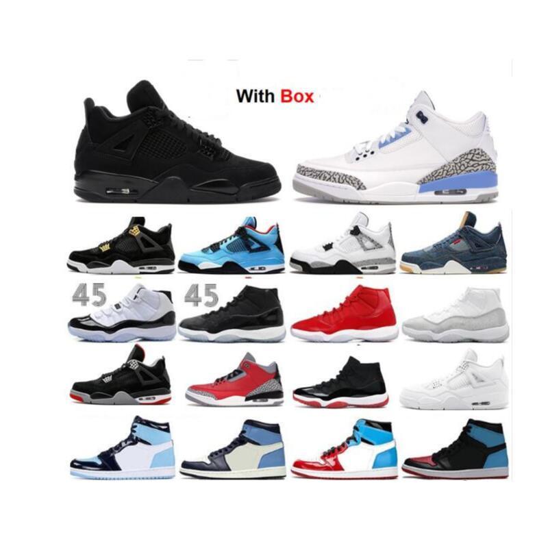 11 11s bajo Concord Bred 4 4S Negro Zapatos de baloncesto del gato 2020 Cemento Cemento Rojo Bred Concord Hombres zapatillas blancas Cool Gray
