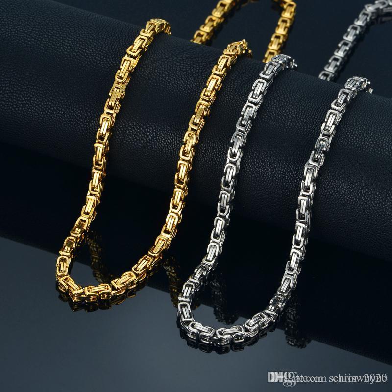 2019 Hohe Qualität 4mm Gold Silber 360L Edelstahl Choker Halskette Kette Mann Byzantinische Box Schmuck