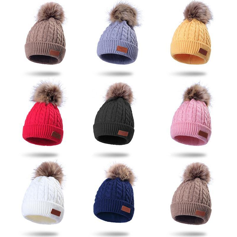 8 Styles Kids Winter Hats Boys Girls Knitted Beanies Thick Cute Hair Ball Cap Infant Toddler Warm Caps Pom Poms Warm Hat M927