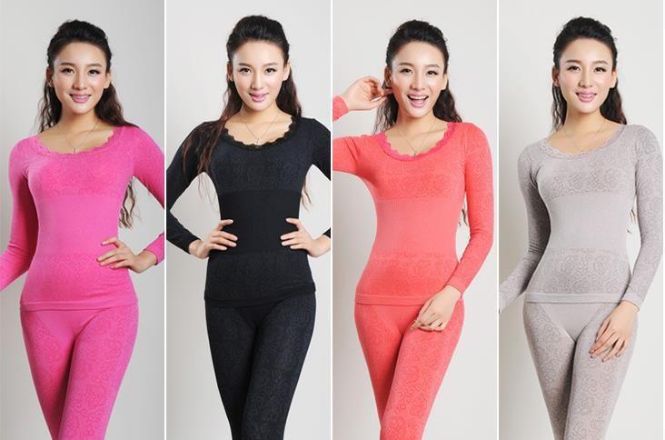 Sexy Women Thermal Underwear Sets O-neck High Elastic Slim Long Johns Set Comfortable Warm Modal Tops+pants Underwear Set