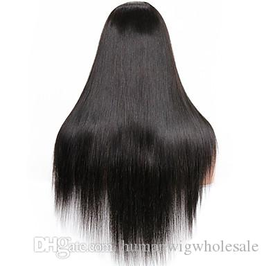 Wholesale 10A Best Quality real human wig Good Looking Yaki Straight lace front wig Tangle Free Glueless wig selling directly from factory