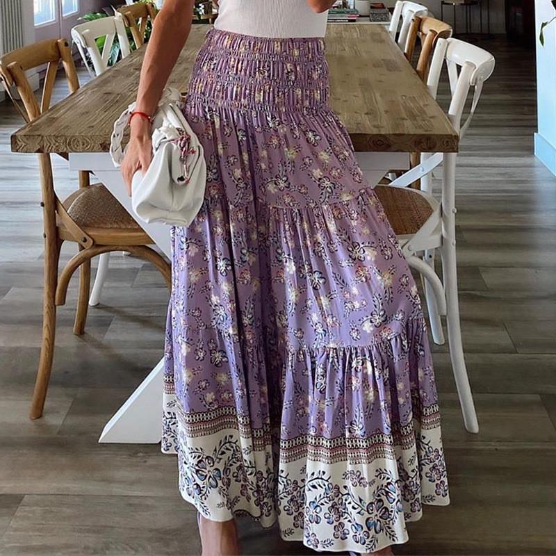 Kadınlar Yüksek Bel Yaz Etek Moda Elastik Bel Pileli Çiçek dizayn edilmiş elbiseler 20ss vestidos de mujer