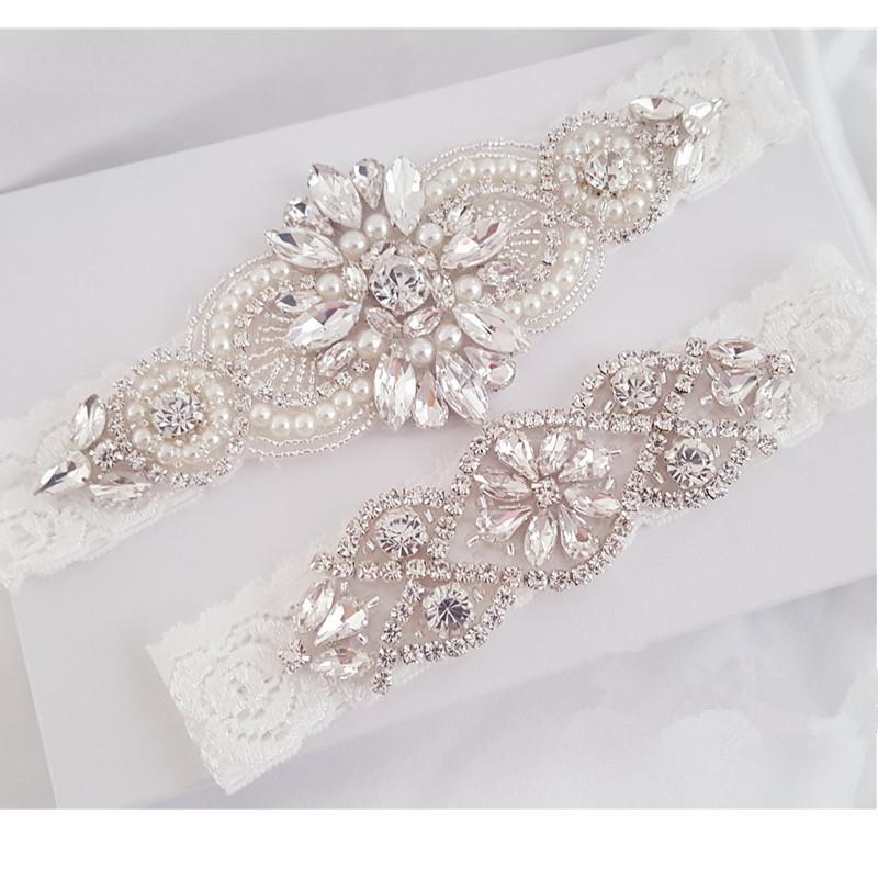 2020 Wedding Garter Set Bridal Garter Set Lace Crystal Rhinestone