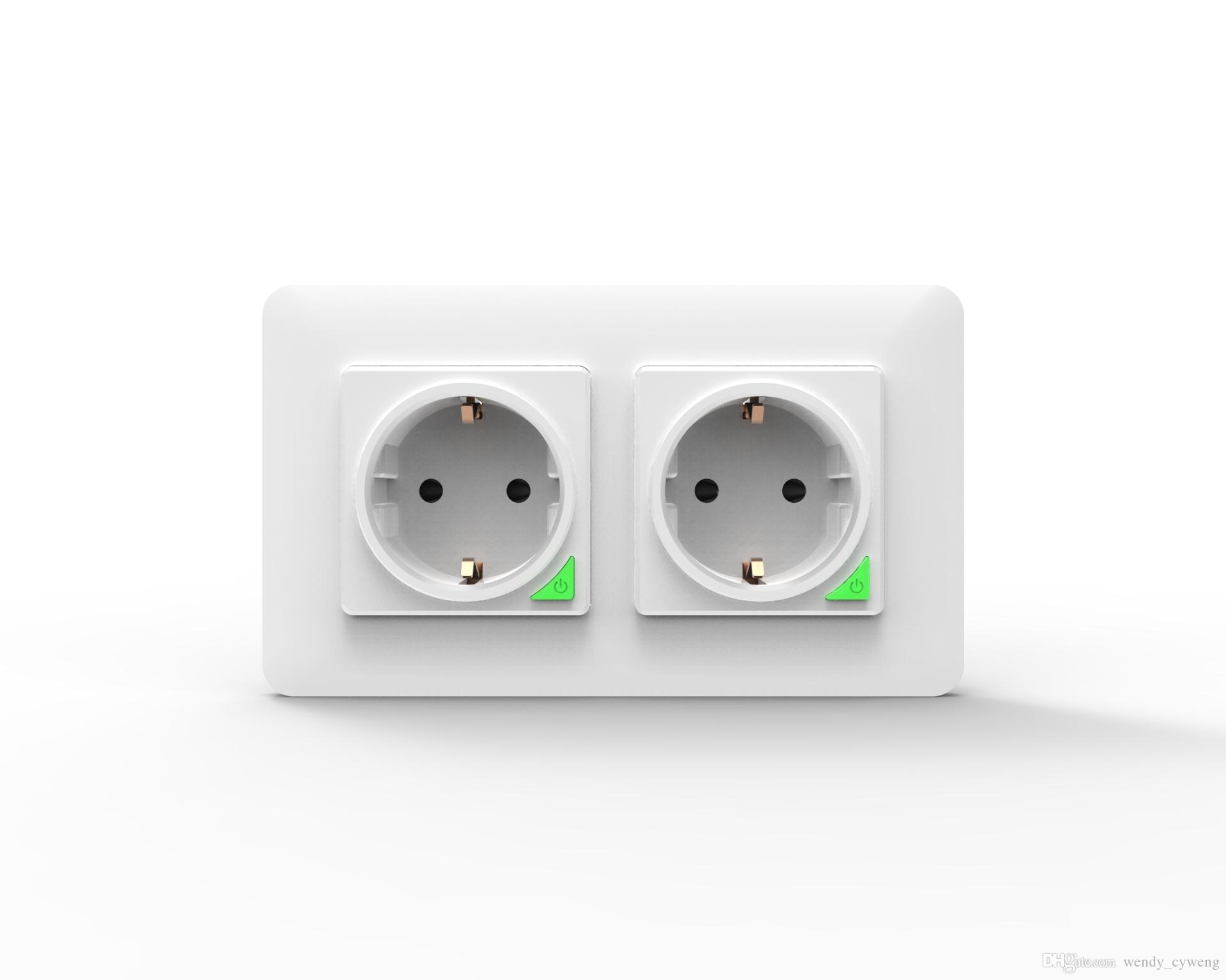 Wi-Fi inteligente energía de la pared del zócalo, 2plugs tipo UE 86 modelo de energía de la pared del enchufe (Voz / APP Control Remoto) 16 A una toma de corriente, no solicitó centro