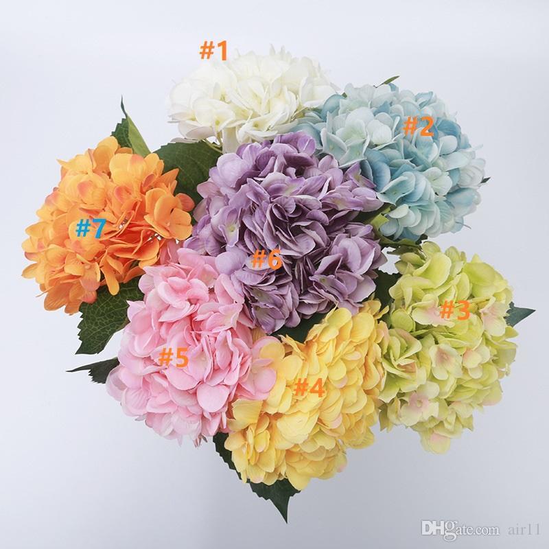 Для вечеринок Искусственной Гортензии цветок голова 47сма поддельных шелка Single Real сенсорных гортензии 8 цветов для свадьбы Centerpieces дома Цветы