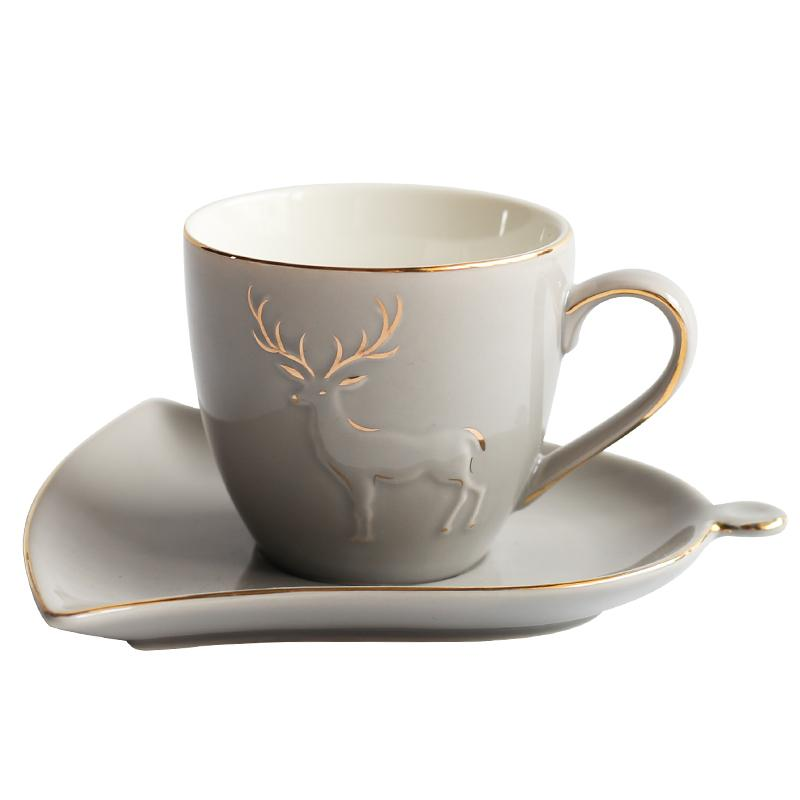 Nordic style Creative golden elk Ceramic coffee cup set Boutique Phnom Penh afternoon tea flower P tea cup saucer set