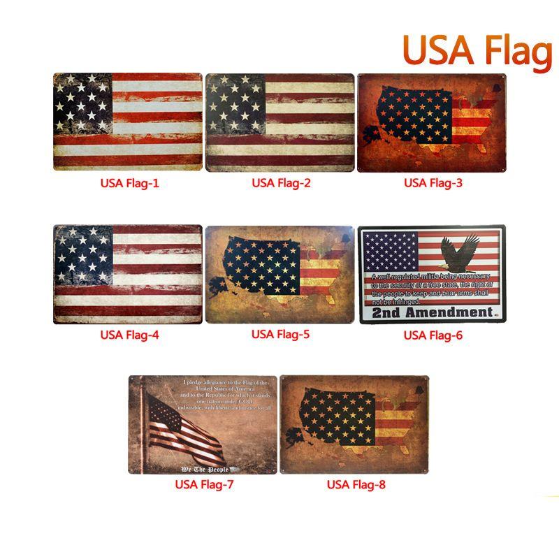Bandera de EE. UU. Carteles de chapa Carteles de chapa de metal Carteles antiguos de metal Placa de pared de metal Pared de arte para el hogar Pintura de metal Decoración de pared Imagen de arte Decoración de fiesta FFA2805