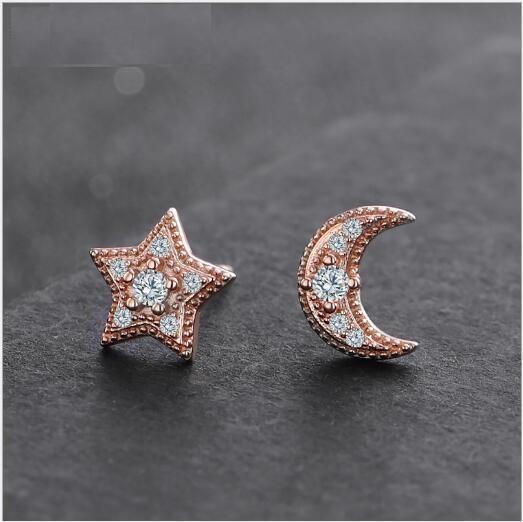 Toptan Moda S925 Gümüş Yıldız Ay Asimetrik Zirkon Elmas Küpe Kadın Yeni Kız Earring356
