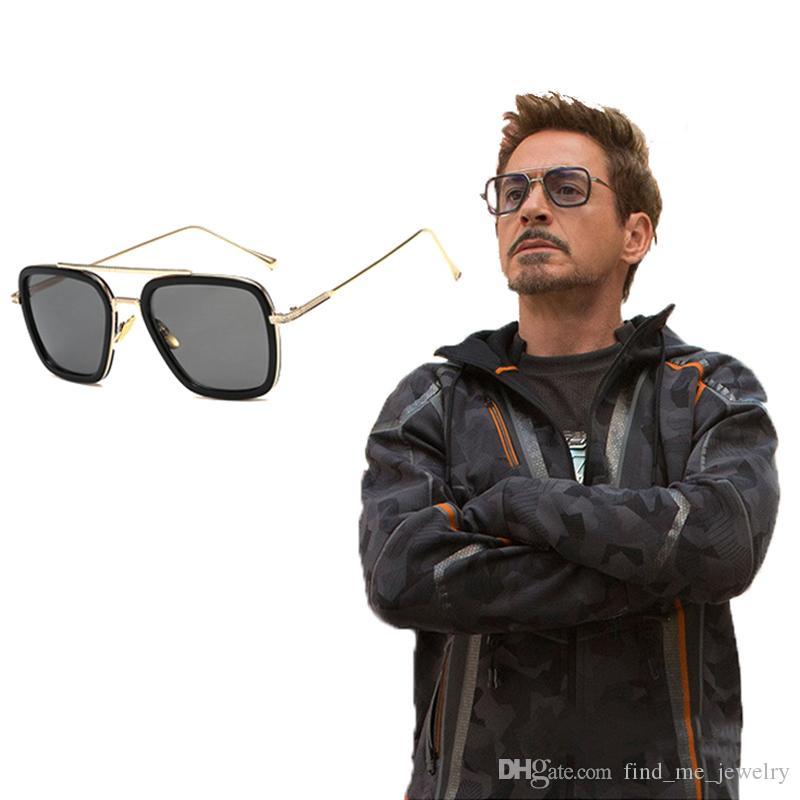 Personalidad Metal Square Frame gafas de sol resistentes a los rayos UV Avengers Iron Man Grey Gafas para hombre Moda Verano Accesorios de joyería al por mayor