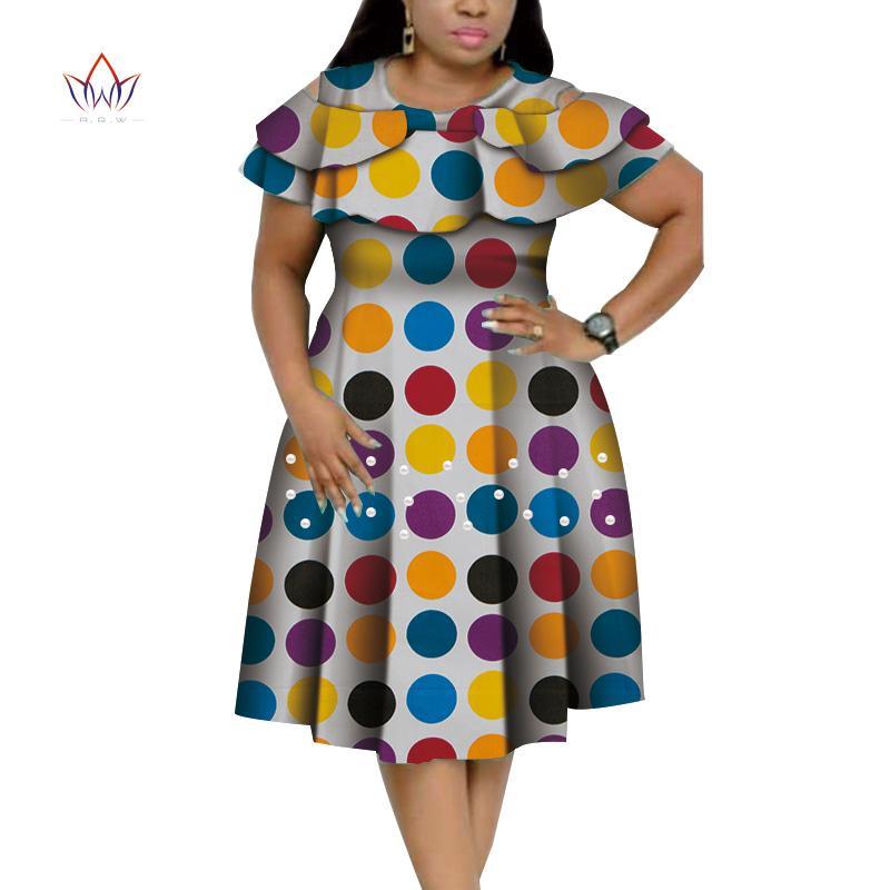 Novas Bazin Riche Ruffles africanos Vestidos Collar para as Mulheres Dashiki Imprimir pérolas Vestidos Vestidos Mulheres Africano Vestuário WY4401