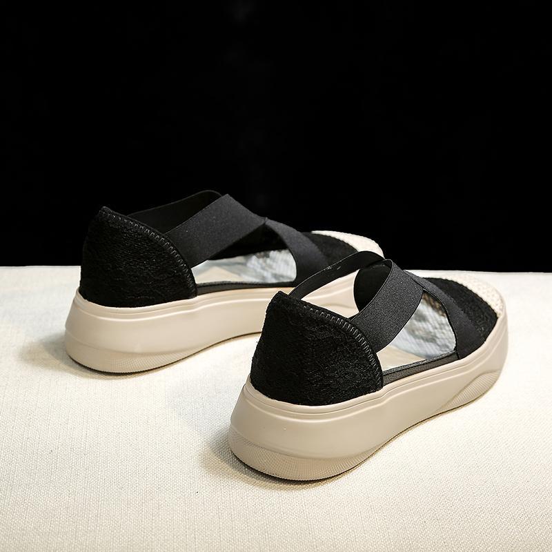 Мода сандалии женщин ретро Шитье сетки Квартиры Летняя обувь Женщина Эластичный бинт Повседневный платформы сандалии 2019 Sandalias Mujer