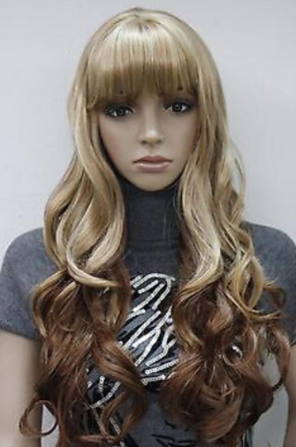 PERUK ücretsiz kargo Moda Kahverengi + Sarışın Karışık Uzun Dalgalı Kadınlar Bayanlar Günlük peruk