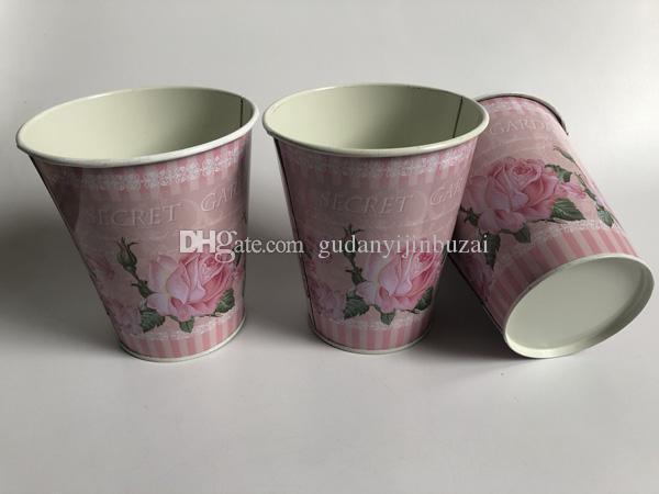 10PCS 도매 D11XH12.5cm 웨딩 장식 금속 욕조 웨딩 장식 테이블 중앙에있는 장식물에 대한 건조 꽃 철 핑크 꽃병에