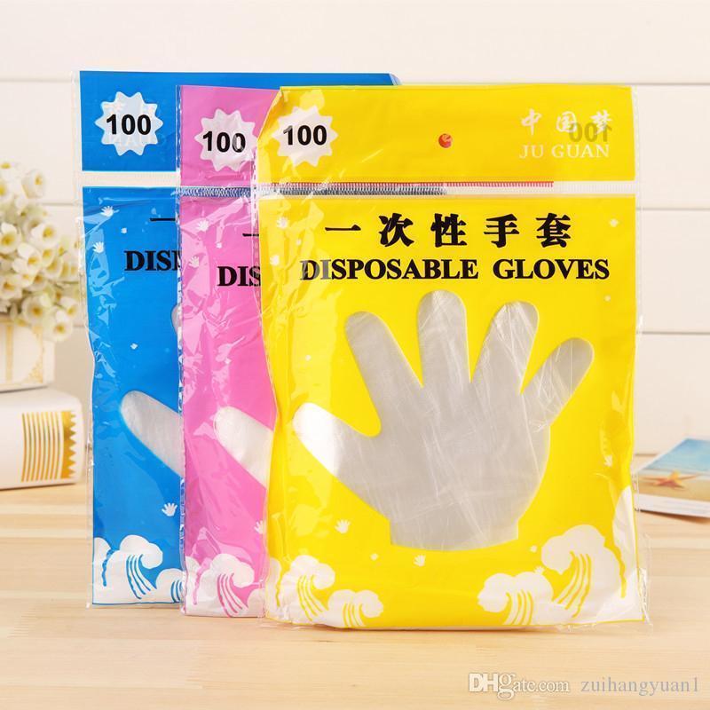 Dinning Schönheit Transparent 100PCS Set Küchenaccessoires Kochen Umweltfreundlich für Lebensmittel Reinigung Kunststoff-Einweg-Handschuhe