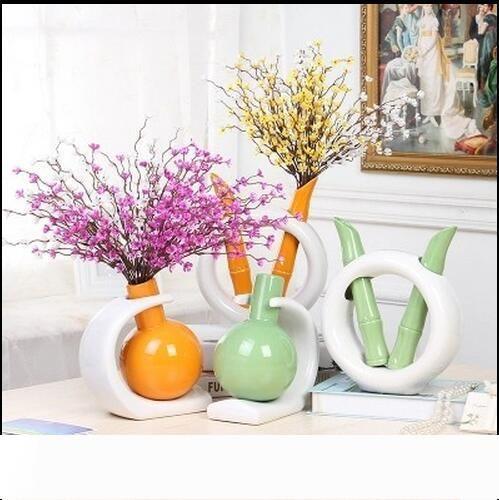 Ev Otel Büro Club Bar Dekor 3 renk seçimi için Modern Seramik Vazo Lucky Bambu şekil Caramic Masa Vazo