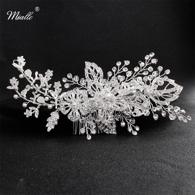 Miallo all'ingrosso 2019 nuovi arrivi fiori di cristallo Capelli monili Wedding dei capelli pettine nuziale clip di ornamenti dei capelli delle donne Divise