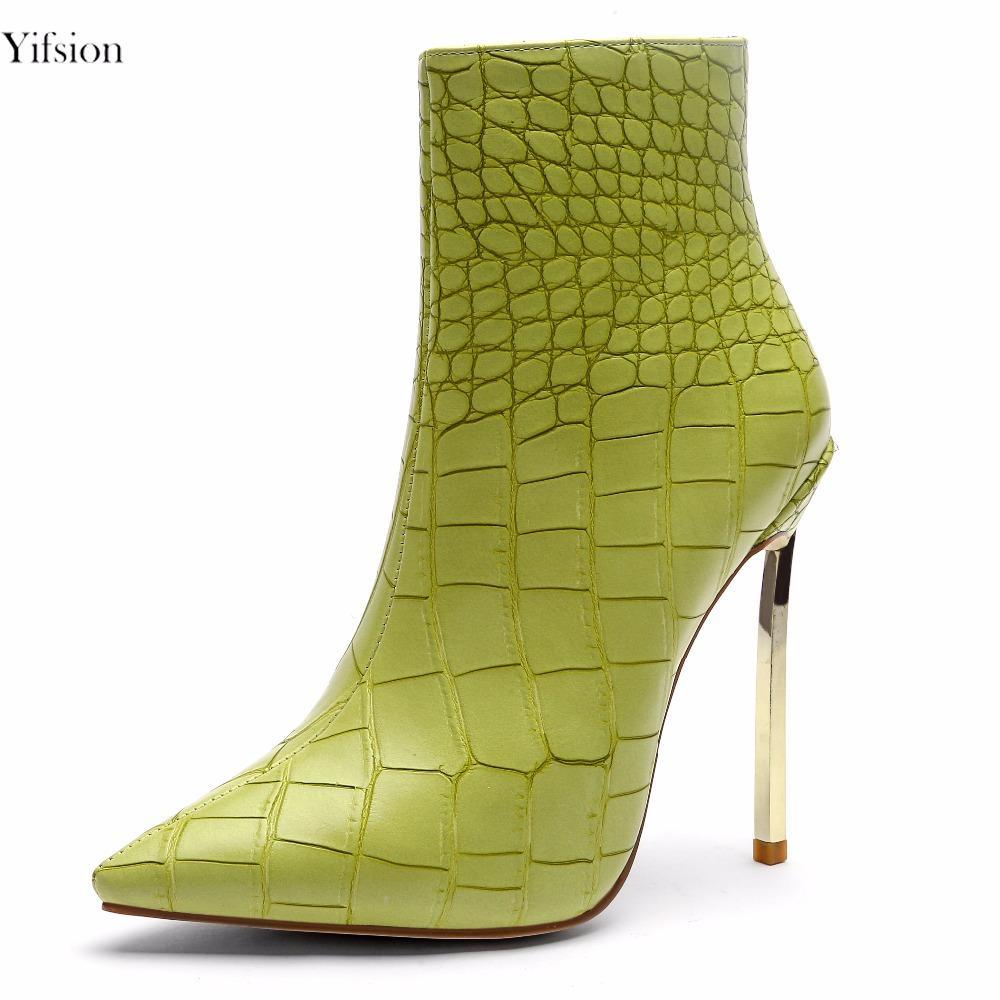 Rontic nuove donne inverno stivaletti sexy metallo sottile tacco alto stivali scarpe a punta moda verde partito scarpe donna formato degli stati uniti 4-10.5
