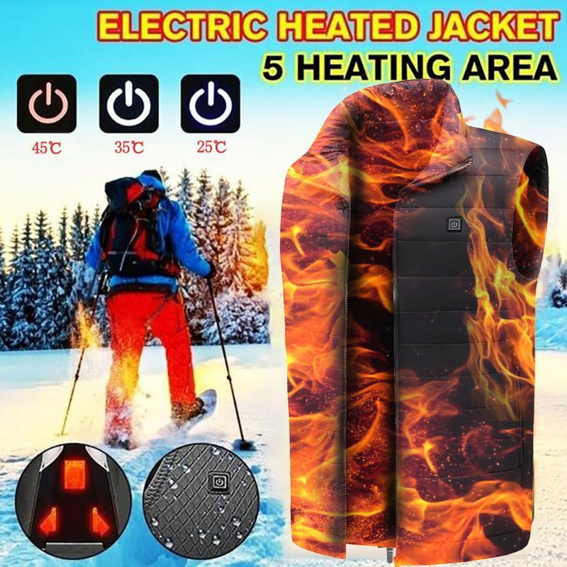 Outdoor Electric Heated Vest USB Heating Vest Outdoor Winter warm men women Clothing Camping Hunting Hiking Jacket#a3