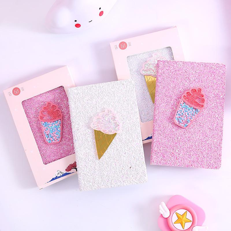 1 Stück PVC-Abdeckung Planner Notebook süße Eis-Tagebuch-Buch Übung Zusammensetzung Bindung Hinweis Notepad-Geschenk-Briefpapier