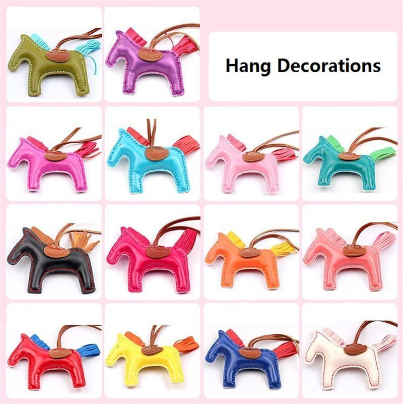 17 Colors Fashion Cute Women's Bag Pendant High-end Handmade PU Handbag Key Chains Tassel Rodeo Horse Bag Charm bag Accessories DHL Free