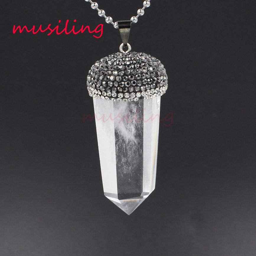 Crystal Pillar Pendants Reiki Pendulum Jewelry Charms Bohemian Healing Chakra Wicca Witch Amulet Fashion Jewelry Wholesale 10ps