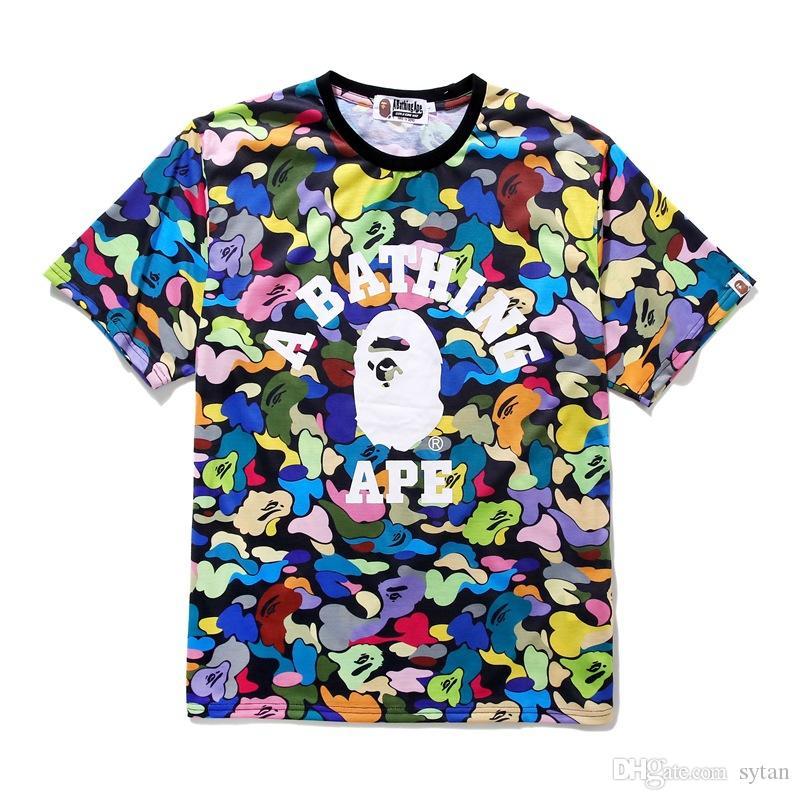 Nouvelle arrivée couleur Camo Cartoon hommes T-shirts imprimés en vrac Casual lâche Sport Amant Hip Hop T-shirts