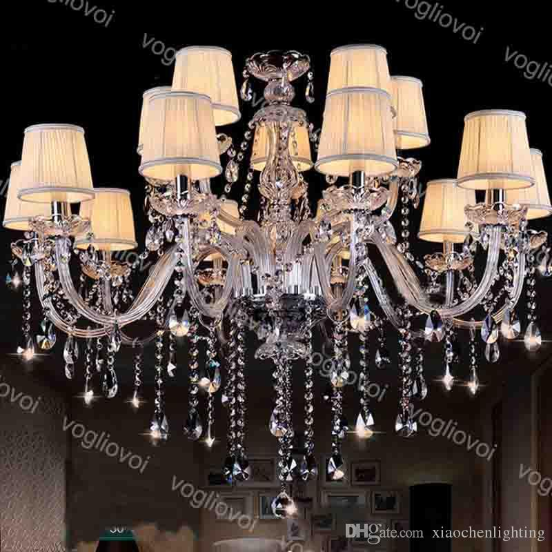 Cristal Chandeliers Europa K9 E14 com abajur 30cm pendurado 3500K 6500K para casa iluminação luminária suspensão suspensão Living jantar DHL