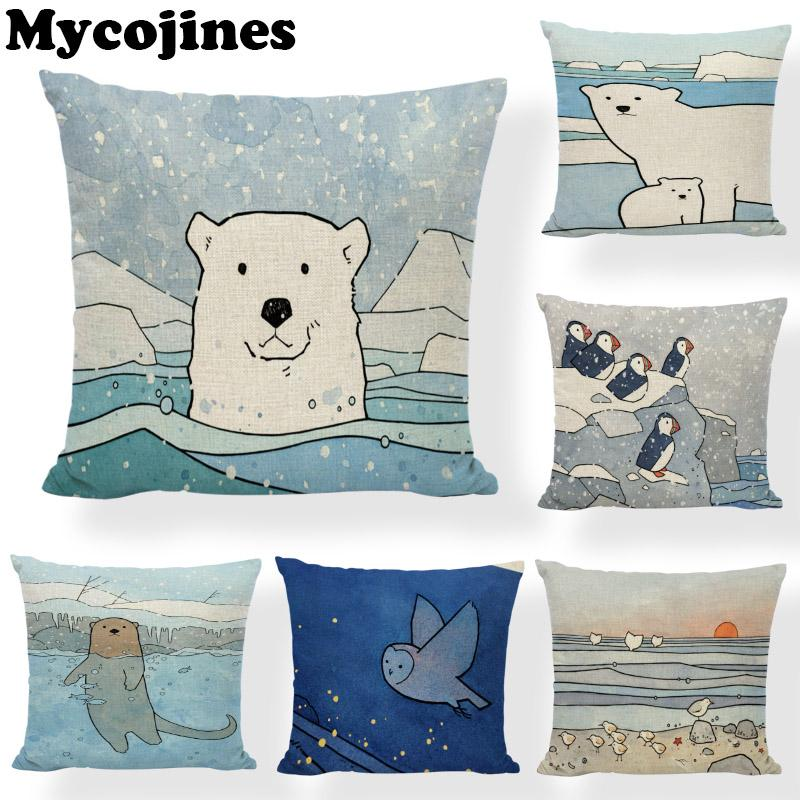Abstract Animal Cushion Cover Whale Wildlife Polar Bear Penguin 45cm Ocean Puffin Clam Living Room Office Decor Sofa Pillowcases