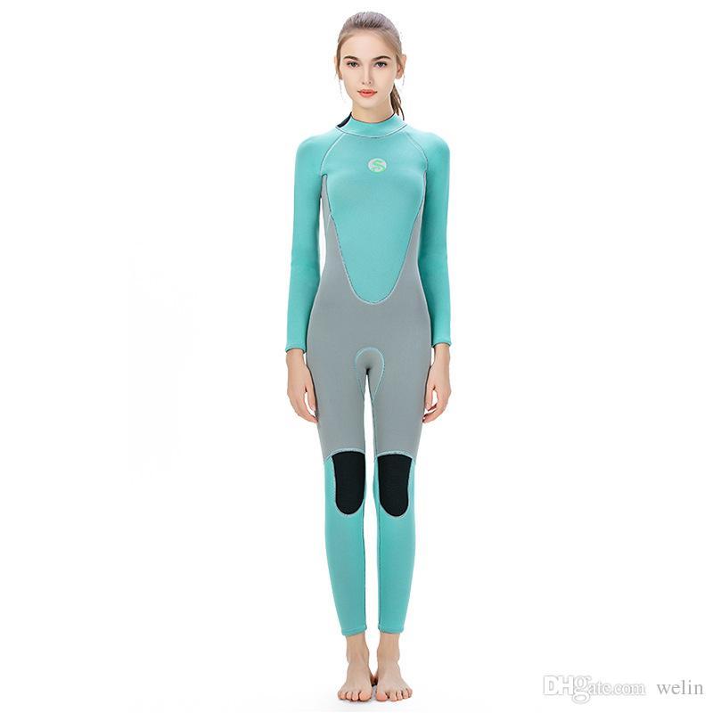 mute eccellenti di stirata per le signore pieno flatlock vestito cuciture disegno disponibile nuoto tuta immersioni surf blu partite grigio