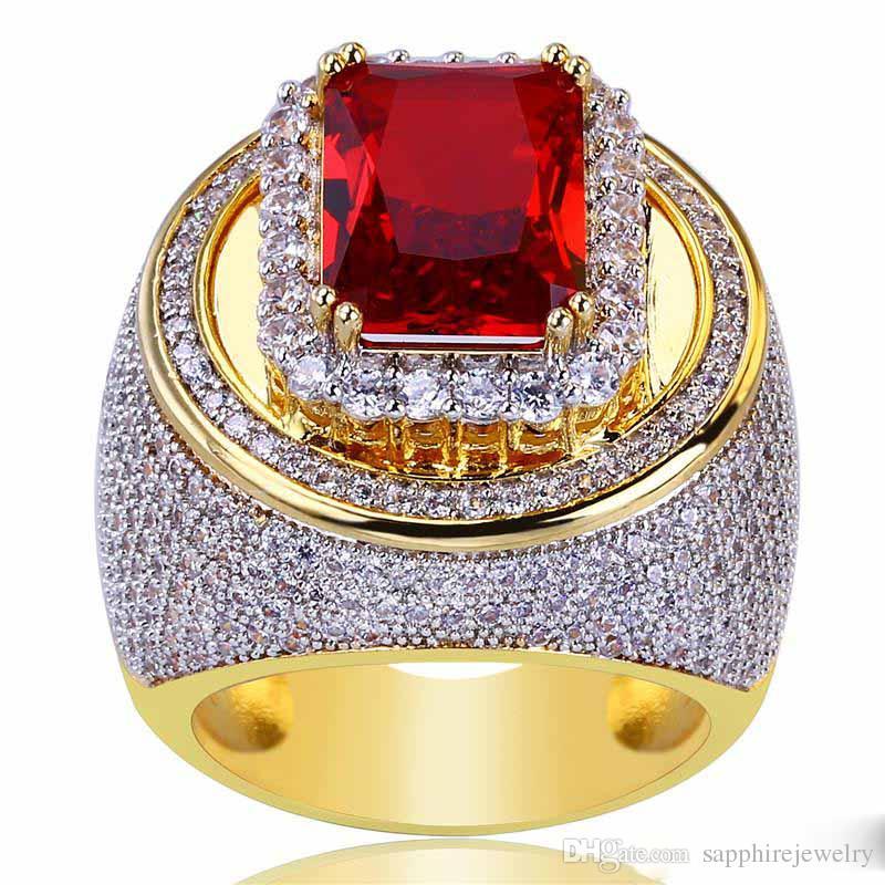 الهيب هوب مطلية بالذهب خواتم للرجل زركون الأحمر جوهرة الهيب هوب عصابة الذكور الأزياء والمجوهرات