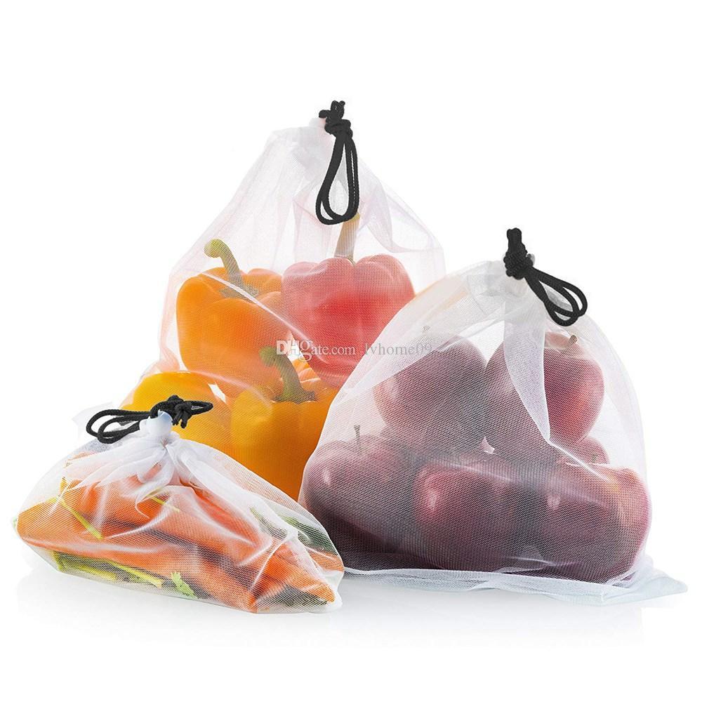 12Pcs Reusable Produce Vegetable Storage Bags Mesh Net Drawstring Fruit Shopping Bags Toys Storage Kitchen Storage Organization Accessories