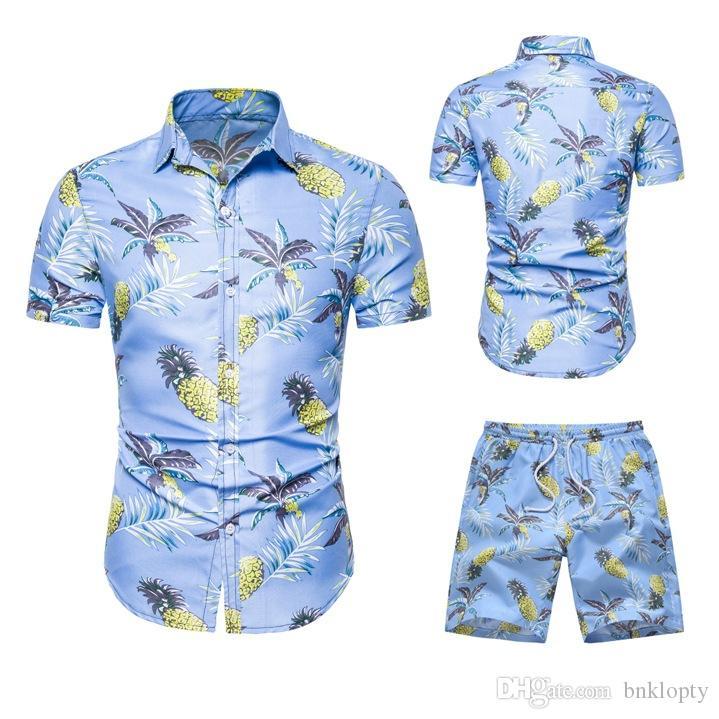 Yaz Tracksuits İki adet Şort eşofmanlar ile Set Çiçek Baskılı Casual Gevşek Erkek Takımları Tasarımcı Gömlek