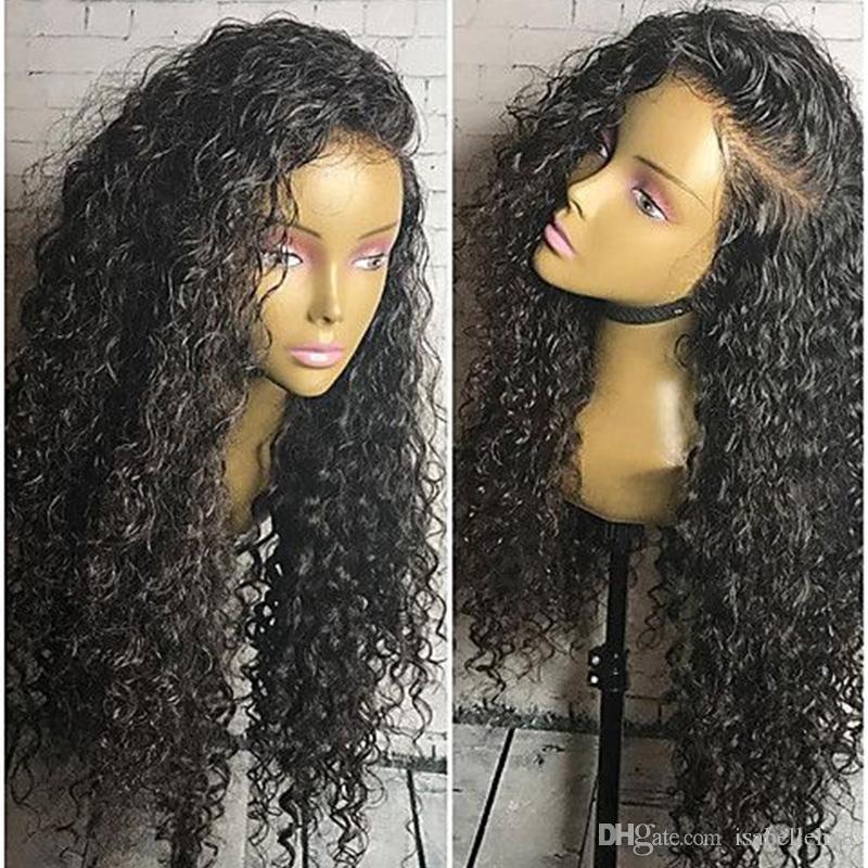 블랙 여성을위한 아기 헤어 사전 뽑아 변태 곱슬 브라질 버진 인간의 머리 가발과 함께 9A의 13x6 깊은 부분 레이스 프런트 가발