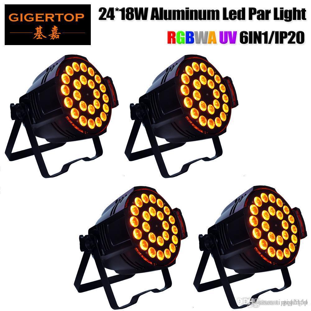 Prix réduit 4 unités étape de LED RGBWAP 24X18W scène conduit par les boîtes de conserve en aluminium cristal Magic Ball ampoule DMX Par lumière 110-240V Disco Club