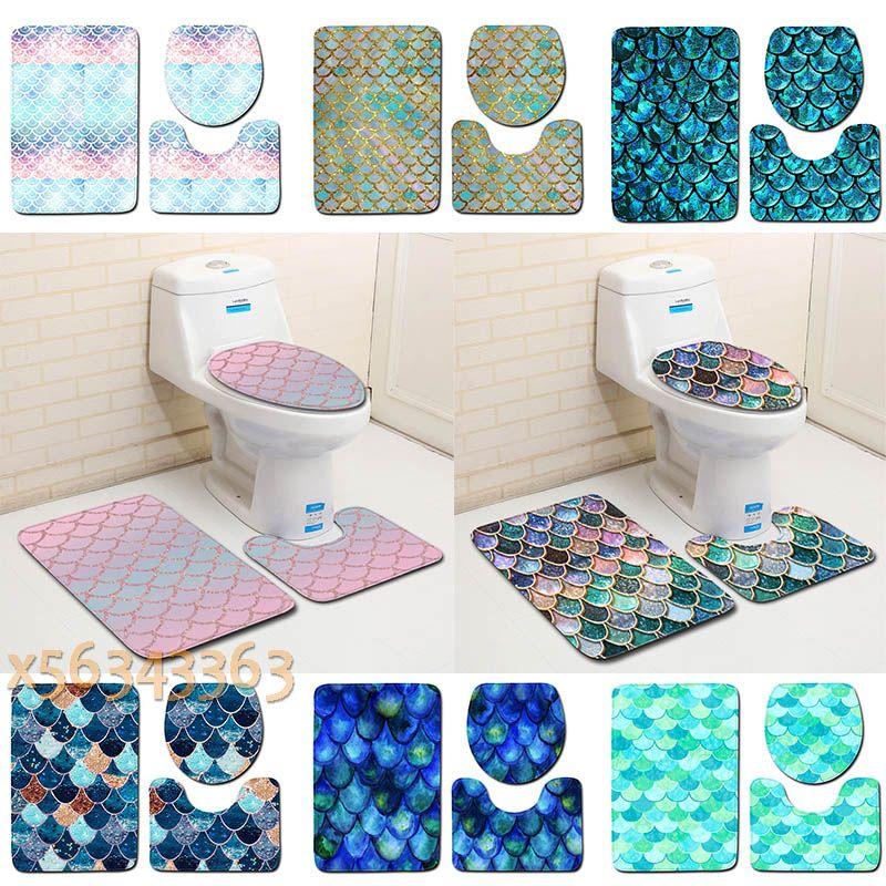 3pcs / set Fisch-Skala gedruckt Badematten Anti-Rutsch-Badteppiche Toiletten-Abdeckung Teppich Badezimmer Rectangle Teppiche nach Hause Fußabtreter Dekoration