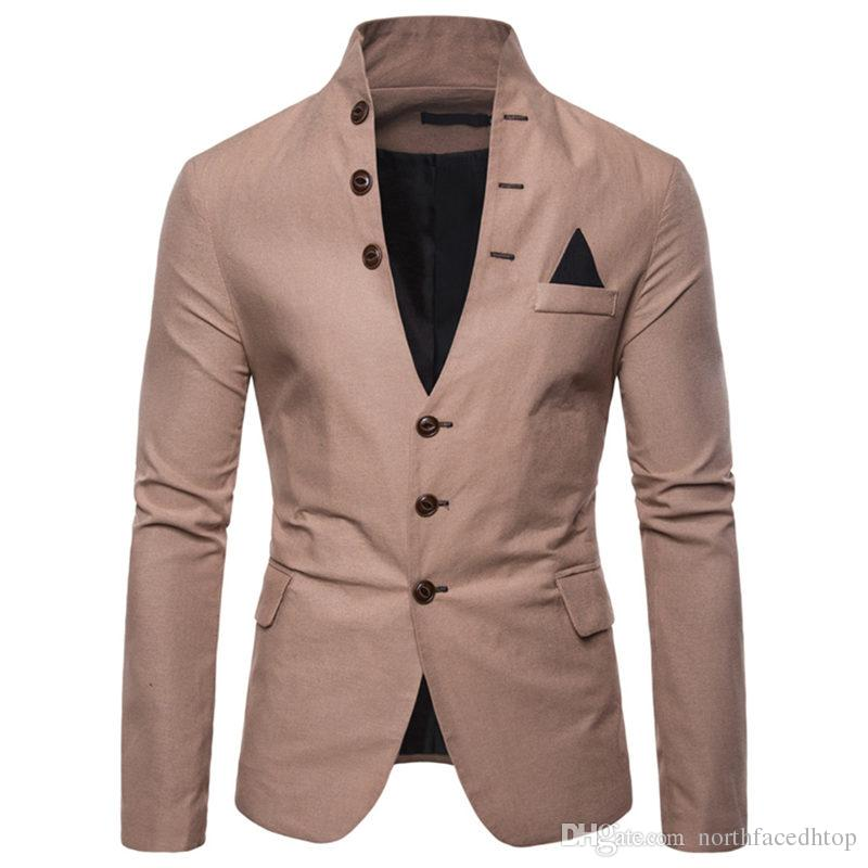 Botones de las chaquetas para hombre Sobresalientes de diseño para hombre de color sólido cuello Tops Ropa Casual Male