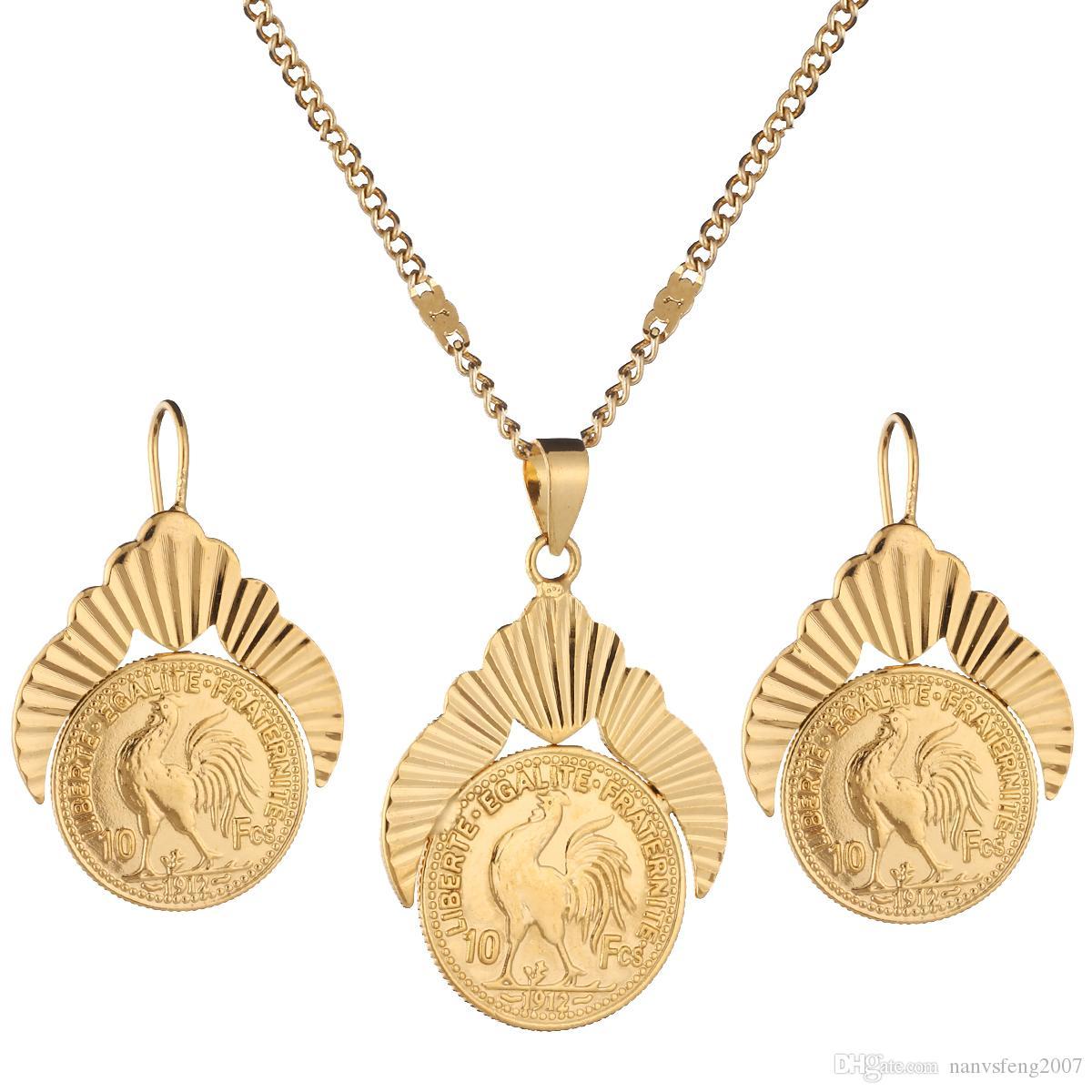Couleur vieil or français Coin Liberte Egalite Fraternite Monnaies 1912 ensembles de bijoux pièces de métal Ensembles de bijoux