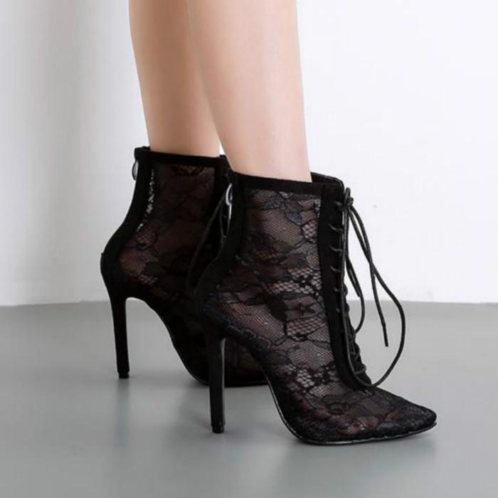 El nuevo estilo del verano 2020 es versátil botas puntiagudas hilo de encaje transpirable zapatos de tacón con cordones son esenciales para bodas