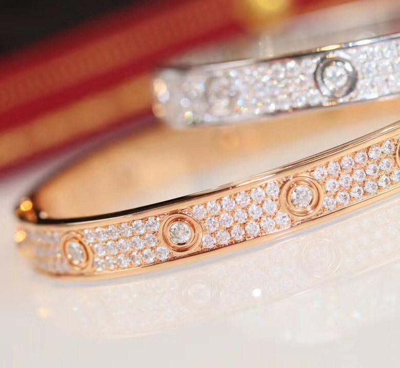 Lüks kalite 16 # 17 # Ücretsiz nakliye PS3416 kadınların düğün takı hediye için ışıltılı elmas ile altın ve platin bilezik gül