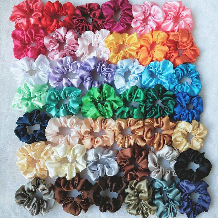 Дешевые Mix 42 младенца сплошной цвет сатин волос Scrunchies Hairbands группы волос Дети кольцо хвостик Rope головной убор Дети Аксессуары для волос