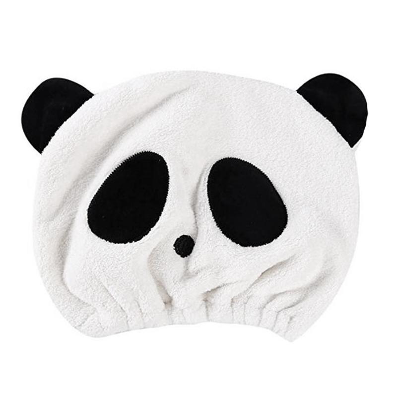 Piccola Cute Panda telo doccia Cap corallo del panno morbido dei capelli creativo del fumetto Protezione dei capelli asciutti Panda doccia Cap (Panda Occhi)
